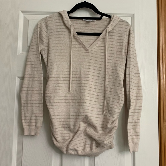 Motherhood Maternity Sweaters - Motherhood Striped Maternity Hooded V Neck
